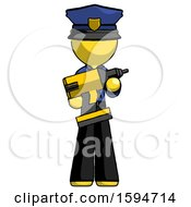 Yellow Police Man Holding Large Drill