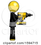 Yellow Clergy Man Using Drill Drilling Something On Right Side