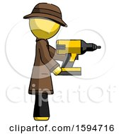 Yellow Detective Man Using Drill Drilling Something On Right Side