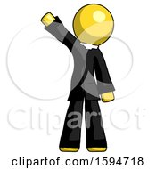 Yellow Clergy Man Waving Emphatically With Right Arm
