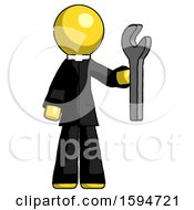 Yellow Clergy Man Holding Wrench Ready To Repair Or Work