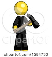 Yellow Clergy Man Holding Hammer Ready To Work