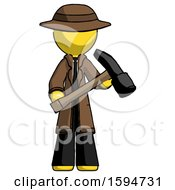 Yellow Detective Man Holding Hammer Ready To Work