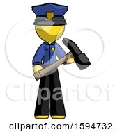 Yellow Police Man Holding Hammer Ready To Work