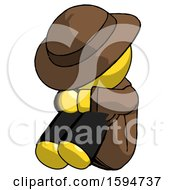Yellow Detective Man Sitting With Head Down Facing Angle Left