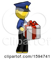 Yellow Police Man Giving A Present