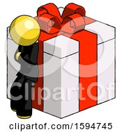 Yellow Clergy Man Leaning On Gift With Red Bow Angle View