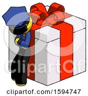 Yellow Police Man Leaning On Gift With Red Bow Angle View