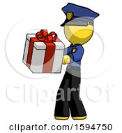 Yellow Police Man Presenting A Present With Large Red Bow On It