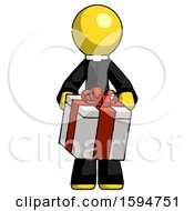 Yellow Clergy Man Gifting Present With Large Bow Front View