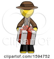 Yellow Detective Man Gifting Present With Large Bow Front View