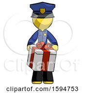 Yellow Police Man Gifting Present With Large Bow Front View