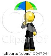 Yellow Clergy Man Holding Umbrella Rainbow Colored