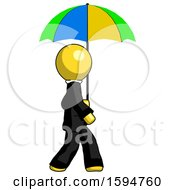 Yellow Clergy Man Walking With Colored Umbrella