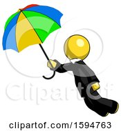 Yellow Clergy Man Flying With Rainbow Colored Umbrella