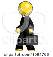 Yellow Clergy Man Walking With Briefcase To The Left