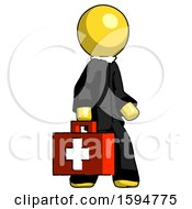 Yellow Clergy Man Walking With Medical Aid Briefcase To Right