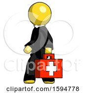Yellow Clergy Man Walking With Medical Aid Briefcase To Left