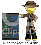 Yellow Detective Man With Server Rack Leaning Confidently Against It