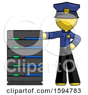 Yellow Police Man With Server Rack Leaning Confidently Against It