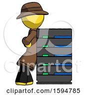 Yellow Detective Man Resting Against Server Rack