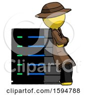 Yellow Detective Man Resting Against Server Rack Viewed At Angle
