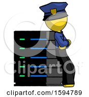 Yellow Police Man Resting Against Server Rack Viewed At Angle