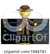 Yellow Detective Man With Server Racks In Front Of Two Networked Systems