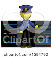Yellow Police Man With Server Racks In Front Of Two Networked Systems