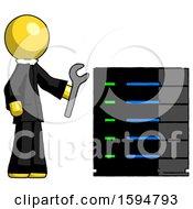 Yellow Clergy Man Server Administrator Doing Repairs