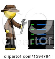 Yellow Detective Man Server Administrator Doing Repairs