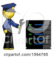 Yellow Police Man Server Administrator Doing Repairs
