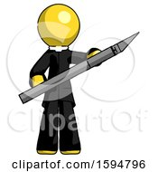 Yellow Clergy Man Holding Large Scalpel