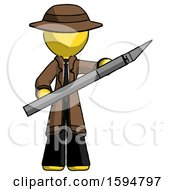Yellow Detective Man Holding Large Scalpel