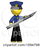 Yellow Police Man Holding Large Scalpel