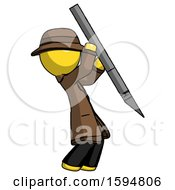 Yellow Detective Man Stabbing Or Cutting With Scalpel