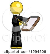 Yellow Clergy Man Using Clipboard And Pencil