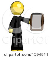 Yellow Clergy Man Showing Clipboard To Viewer