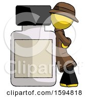 Yellow Detective Man Leaning Against Large Medicine Bottle