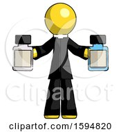 Yellow Clergy Man Holding Two Medicine Bottles