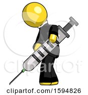 Yellow Clergy Man Using Syringe Giving Injection