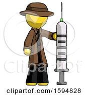 Yellow Detective Man Holding Large Syringe