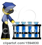 Yellow Police Man Using Test Tubes Or Vials On Rack