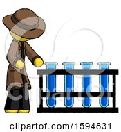 Yellow Detective Man Using Test Tubes Or Vials On Rack