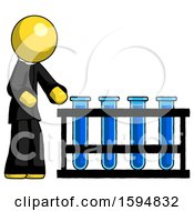 Poster, Art Print Of Yellow Clergy Man Using Test Tubes Or Vials On Rack