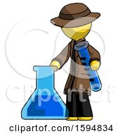 Yellow Detective Man Holding Test Tube Beside Beaker Or Flask