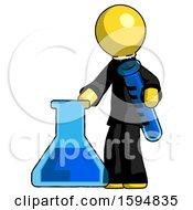 Yellow Clergy Man Holding Test Tube Beside Beaker Or Flask