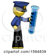 Yellow Police Man Holding Large Test Tube