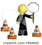 Poster, Art Print Of Yellow Clergy Man Holding Stop Sign By Traffic Cones Under Construction Concept