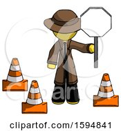 Yellow Detective Man Holding Stop Sign By Traffic Cones Under Construction Concept